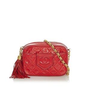 Chanel Gekruiste tas rood Leer