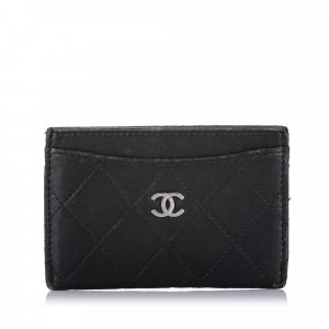 Chanel Kaartetui zwart Leer