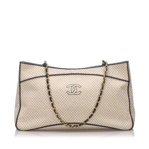 Chanel Bolso de compra blanco Algodón