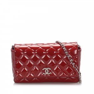 Chanel CC Quilted Patent Leather Wallet on Chain