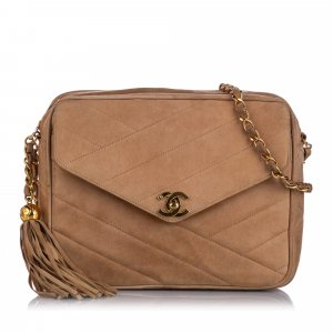Chanel CC Quilted Suede Crossbody Bag