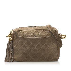 Chanel Crossbody bag khaki suede
