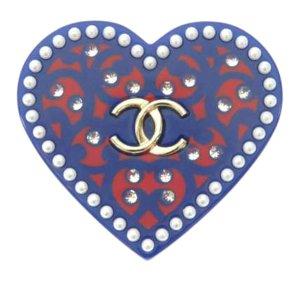 Chanel CC Rhinestone Heart Brooch