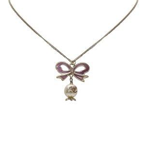 Chanel CC Ribbon Rhinestone Necklace