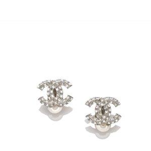 Chanel CC Strass Stud Earrings