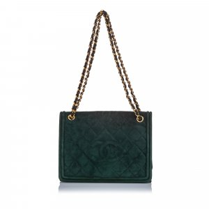 Chanel Shoulder Bag green suede