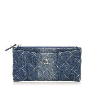 Chanel Portmonetka niebieski Bawełna