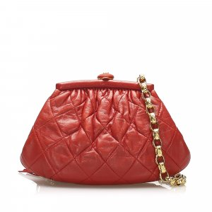 Chanel Pouch Bag red leather