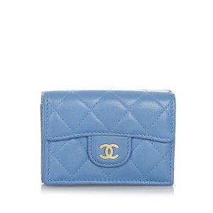 Chanel Portemonnee blauw Leer