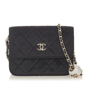 Chanel CC Timeless Pearl Crush Velvet Shoulder Bag