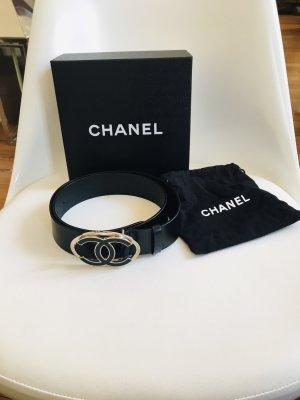 Chanel Ceinture en cuir noir-argenté cuir