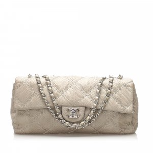 Chanel Classic East West Ultra Stitch Snake Skin Single Flap Bag