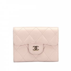 Chanel Portefeuille rose clair cuir