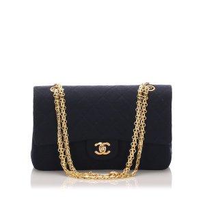 Chanel Bolsa de hombro azul oscuro Algodón