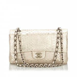 Chanel Shoulder Bag gold-colored reptile leather