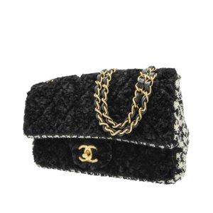 Chanel Schoudertas zwart Wol