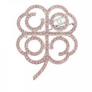 Chanel Clover Rhinestone Brooch