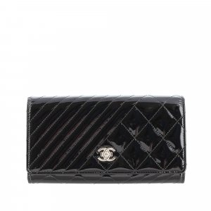 Chanel Coco Boy Patent Leather Flap Wallet