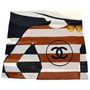 Chanel Gebreide sjaal bruin Katoen