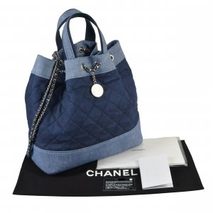 CHANEL Denim Drawstring Backpack Rucksack @mylovelyboutique.com
