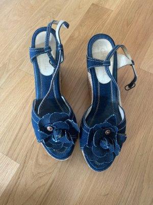 Chanel denim schuhe wedges Sandalen 40 blau