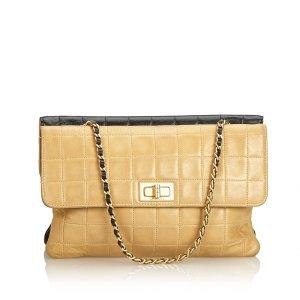 Chanel Sac porté épaule beige cuir