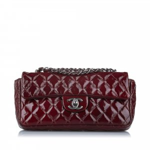 Chanel East West Classic Patent Leather Single Flap Bag