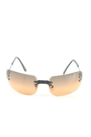 Chanel Occhiale da sole spigoloso nero-arancione chiaro Colore sfumato
