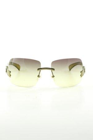 Chanel Lunettes de soleil angulaires jaune primevère-kaki style d'affaires
