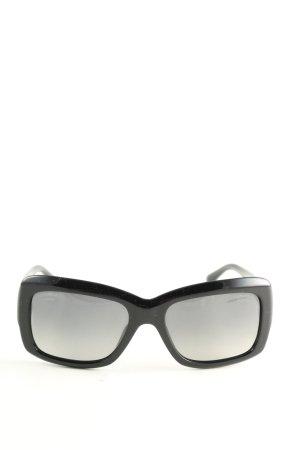 Chanel eckige Sonnenbrille schwarz-weiß Blumenmuster Casual-Look