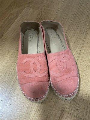 Chanel Espadrille Sandals pink linen