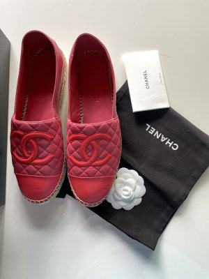 Chanel Espadrille Sandals pink-bright red leather
