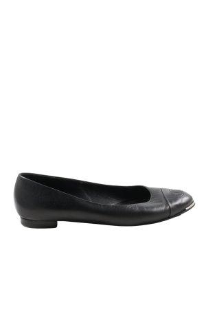 Chanel Składane baleriny czarny W stylu biznesowym