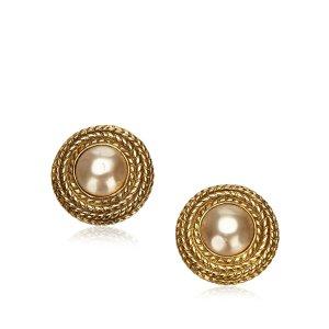 Chanel Faux Pearl Button Clip-On Earrings