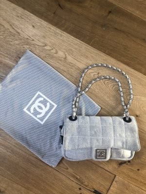 Chanel Flap Bag Vintage Grau Stoff