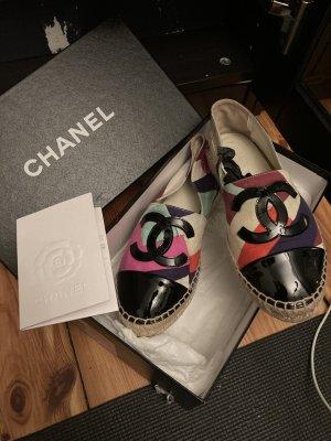 Chanel flats espadrilles patch limited edition canvas multi color Leinen