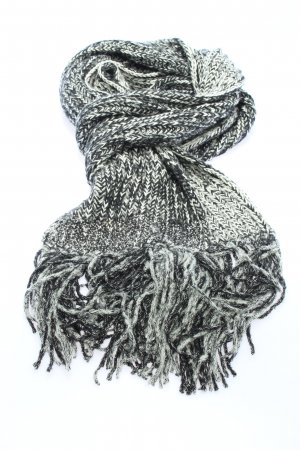 Chanel Fringed Scarf black-light grey cable stitch casual look