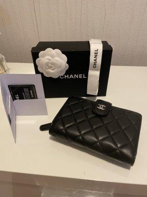 Chanel Wallet black-dark red leather
