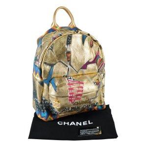Chanel Plecak złoto-beżowy Tkanina z mieszanych włókien