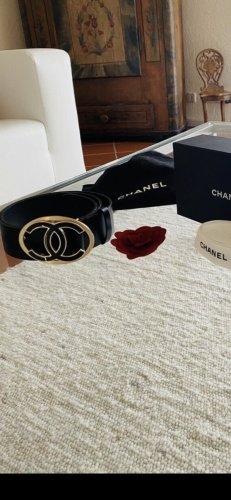 Chanel Leather Belt black-gold-colored