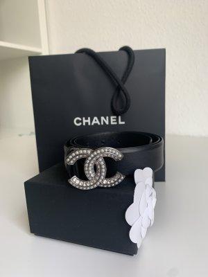 Chanel Cinturón de cuero negro