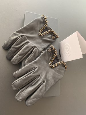 Chanel Leather Gloves black-gold-colored leather
