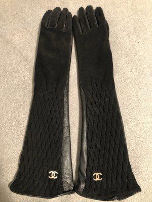 Chanel Handschuhe Leder lang Logo Samt Größe 6,5
