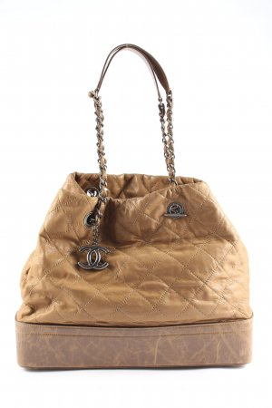 Chanel Handtasche dunkelbeige Steppmuster Casual-Look