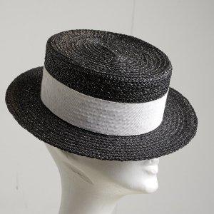 Chanel Sombrero de ala ancha negro-blanco