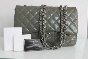 Chanel Jumbo Timeless Lacktasche Crossbody Grau Dustbag ID Rechnung