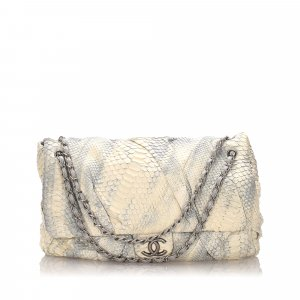 Chanel Shoulder Bag white reptile leather