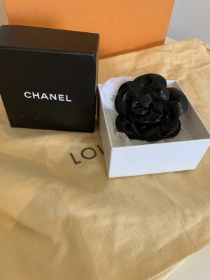 Chanel Brooch black-gold-colored leather