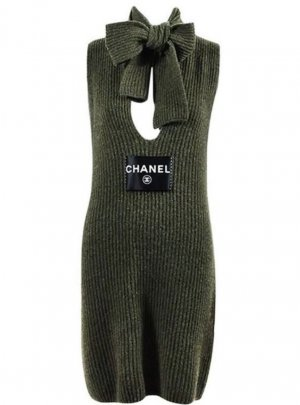 Chanel Robe pull kaki