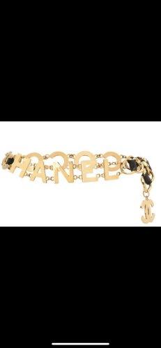 Chanel Cinturón de cadena negro-color oro metal